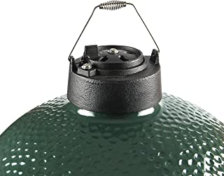 Dual Function Metal Top Cast Iron Chimney Cap with Daisy Wheel Slide Draft Top Damper Cap Vent Fit for Medium Large Big Green Egg Accessories Charcoal Grill BBQ Kamado Replacement (Cast Iron)
