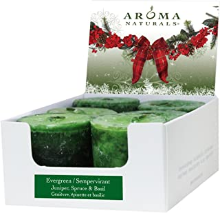 Aroma Naturals Votive Candles Essential Oil with Juniper Spruce and Basil, Evergreen Holiday, 6 Count