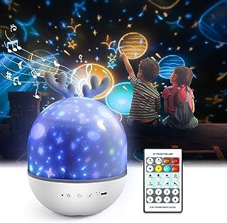 Lámpara Proyector Infantil,Petrichor 360° Rotación Iluminación infantil nocturna, con 6 películas de proyección ,8 cómodo canción,para Niños y Bebés, Cumpleaños, Vacaciones, Navidad, Halloween