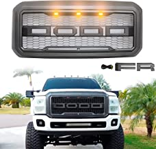 Modifying Front Grille for 2011-2016 F250 Ford F-250 F-350 F-450 F-550 Raptor Style Grill with 3 LED Amber Lights and Replaceable Letters - Grey