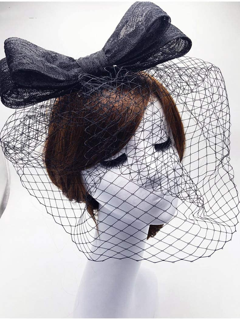 feilai Elegant Tulle Bridal Hats 2021 Evening Party Wedding Bride Headband Headpiece/Party/Corsage (Color : White)