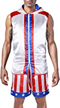 Adult Men Classic Movie Boxing Costumes Sleeveless Zip-up Vest Tank Hoodies Jacket Apollo American Flag Shorts Trunks Suits