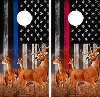 Speed Demon Hot Rod Shop Cornhole Board Wraps ~ Deer Nature Scene Bucks and Does Blue LINE RED LINE in a Subdued American Flag Corn Hole Boards Laminated Decal Wraps (Set of 2) #05/6