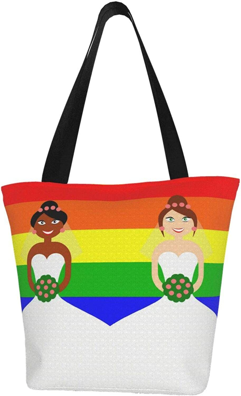 Rainbow Pride Couple Women Wedding Themed Printed Women Canvas Handbag Zipper Shoulder Bag Work Booksbag Tote Purse Leisure Hobo Bag For Shopping