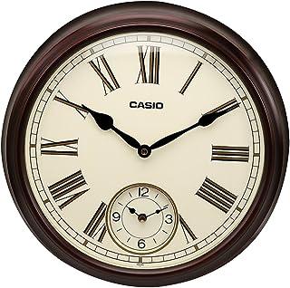 Casio Round Wood Analog Wall Clock (36 x 36 x 7.5 cm, White and Brown)