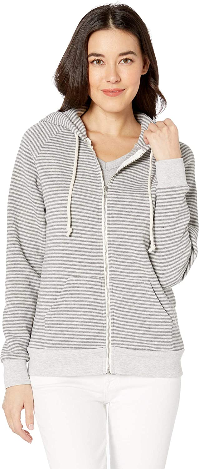 Alternative Womens Adrian Striped EcoFleece Zip Hoodie Hooded Sweatshirt