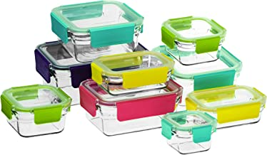 Glasslock Premium Oven Safe Container with Coloured Clip Lids, 9-Piece Set, Clear, GL-1195
