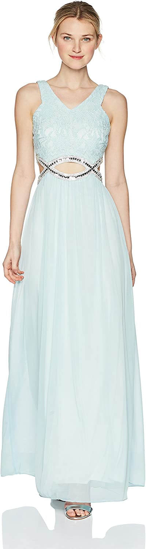 SPEECHLESS Womens Standard FullLength Dress with PeekaBoo Jeweled Waist