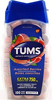 TUMS Antacid Chewable Tablets, Extra Strength, Assorted Berries, 100 count