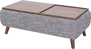 New Pacific Direct Rydel Lift-Top Rectangular Storage Coffee Table, Ash Gray/Walnut
