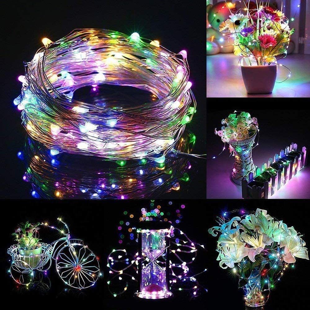 Warm White Chinety LED Fairy Light String 20 Pack Micro 20 LED Battery Operated Silver Wire String Lights Mini Waterproof Firefly Starry Lights Mason Jar Lights for DIY Party Wedding Bedroom Decor