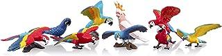 "TOYMANY 9PCS Realistic Parrot Birds Figurines, 2-4"" Plastic Macaw Animals Figures Set Includes Cockatoo,Scarlet Macaw, Edu..."