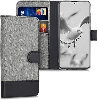 kwmobile Hülle kompatibel mit Samsung Galaxy A51   Kunstleder Wallet Case mit Kartenfächern Stand in Grau Schwarz