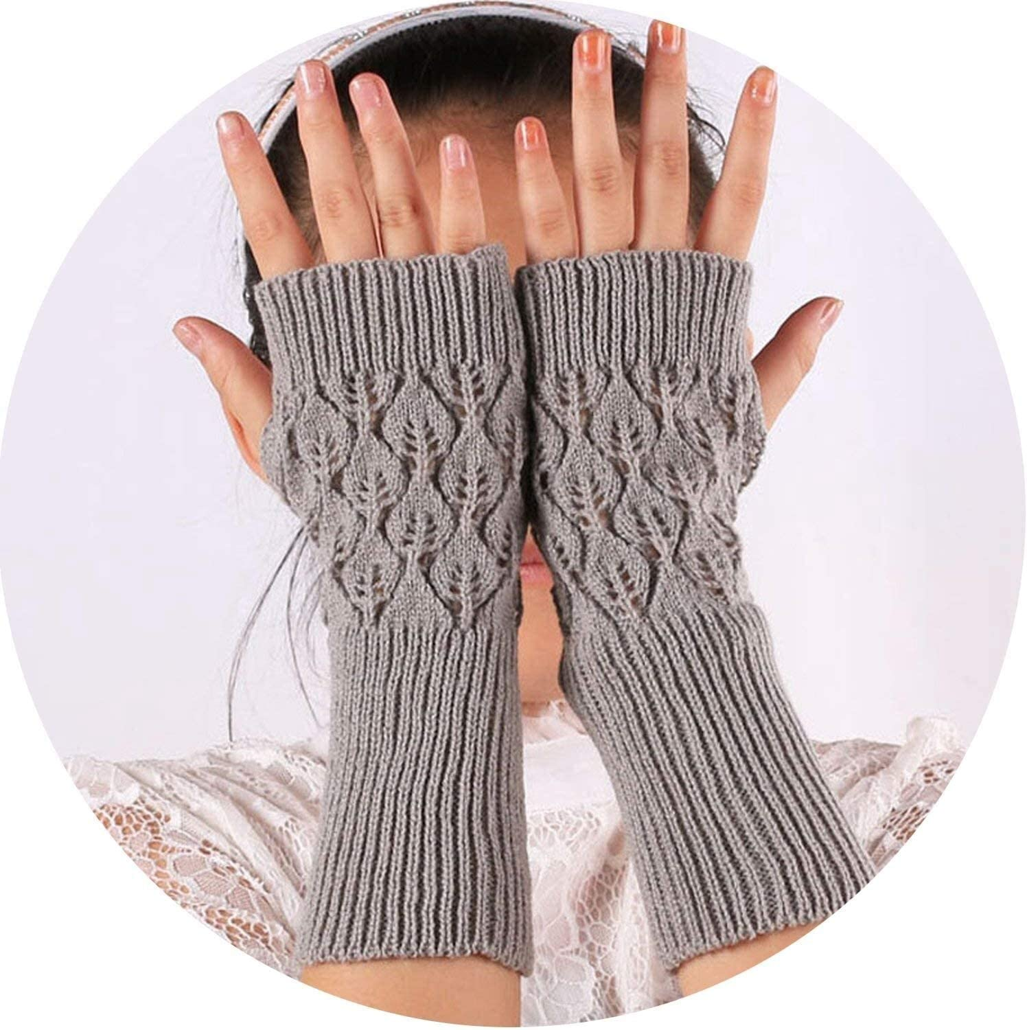 Samantha Warm Gloves Warm Knitted Fingerless Gloves Hollow Out Leaves Long Section Winter Long Fingerless Knitting Wool Mittens (Color : Light Gray, Size : Oneszie)