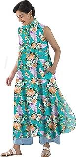 RADANYA Long Tops Tunic Kurta Kurti Womens Long Sleeveless Tropical Printed Tunic Kurta for Women's