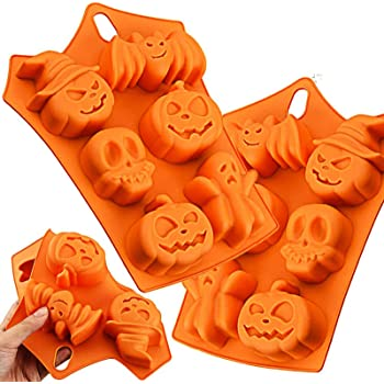 Dymals 2 Pcs Halloween Party Candy Mold, Funny 6-Cavity Pumpkin Bat Witch Face Skull Ghost Shape Silicone Tools, Chocolate Cookie Baking Cake Jelly Sugar Ice Cube for Kitchen DIY