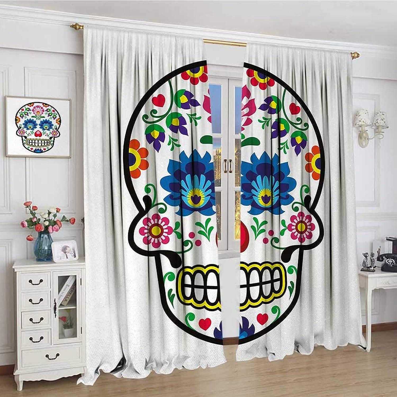 Smallbeefly Sugar Skull Widened Room Darkening Curtains Polish Folkloric Art Style Mexican Sugar Skull Design Ethnic Carnival Theme Drapes for Living Room 120 x84  Multicolor