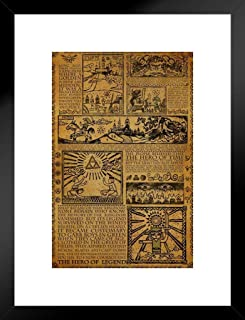 Pyramid America Zelda Story of The Hero Mythology Timeline Video Game Gaming Matted Framed Poster 20x26 inch