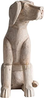 Creative Co-Op Hand-Carved Labrador Retriever Statue in Mango Wood