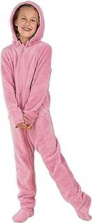 PajamaGram Big Girls' Hoodie-Footie Fleece Onesie Pajamas