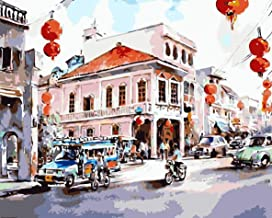 MAIYOUMENG Paint by Numbers for Adults DIY Full Set Color Oil Painting Kit and Brush Accessories -Bangkok City Street Pattern -16x20 Inch