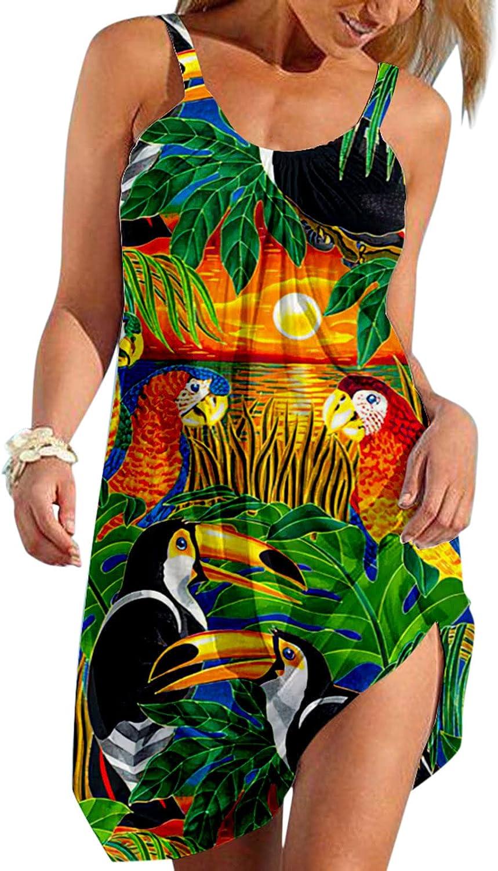TAYBAGH Beach Dresses for Women Plus Size, Womens Sunflower Printed Casual Summer Dress Knee Length Sleeveless Sundress