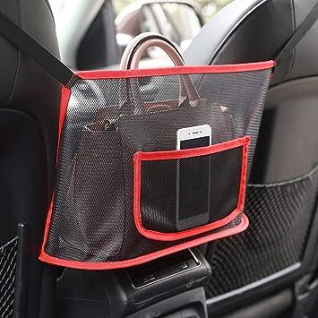 Safego Car Purse Holder Between Seats for Storage Phone Documents Pocket,Barrier of Backseat Pet Kids,Cargo Tissue Holder RED Car Net Pocket Handbag Holder between seats