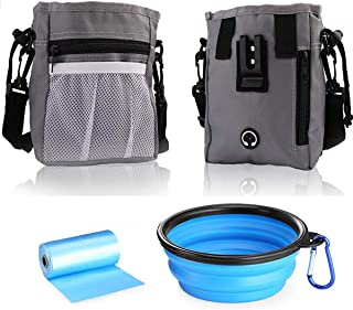 Dog Treat Training Pouch, Easily Access to Pet Toys, Kibble, Treats, with Waist Belt, Shoulder Strap, Collapsible Bowl - Build-in Waste Bag Dispenser