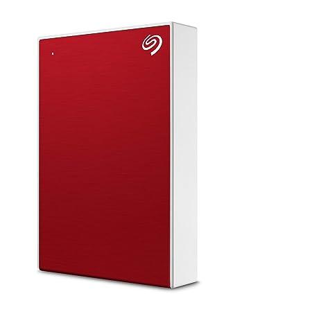 Seagate One Touch 5To, Disque dur externe HDD – Rouge, USB3.0, pour PC portable et Mac, Abonnement de 4 mois à la formule Adobe Creative Cloud, et services Rescue valables 2 ans (STKC5000403)