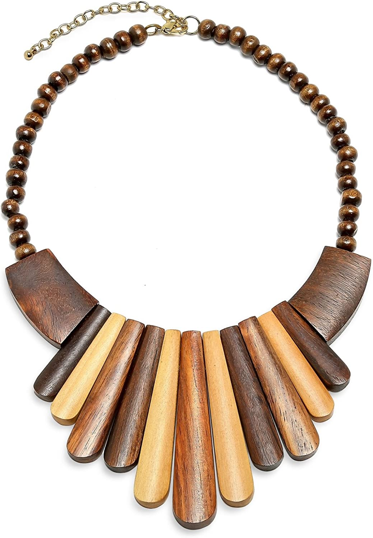 Bling Jewelry Tribal Artisan Multi Tone Teak Wood Boho Tribal Fan Bib Collar Statement Necklace for Women Adjustable