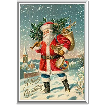 Vintage Christmas Card Rare Old Fashioned 1900s Santa Claus With Toys Theme Victorian Era Edwardian Style