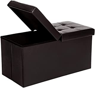 SONGMICS 30 Inches Folding Storage Ottoman Bench with Flipping Lid, Storage Chest Footstool , Faux Leather, Brown ULSF45BR