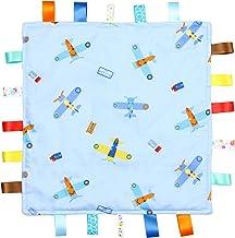 Manta de Etiquetas para Bebés Azul - Manta de Etiquetas Azul con Aviones - Parte Inferior con Relieve de Color Azul Claro