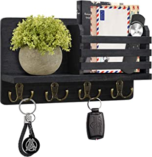 Y&ME YM Mail Organizer Wall Mounted, Rustic Key Hangers and Mail Sorter, Wood Decorative Mail Shelf with 4 Hooks, Key Hold...