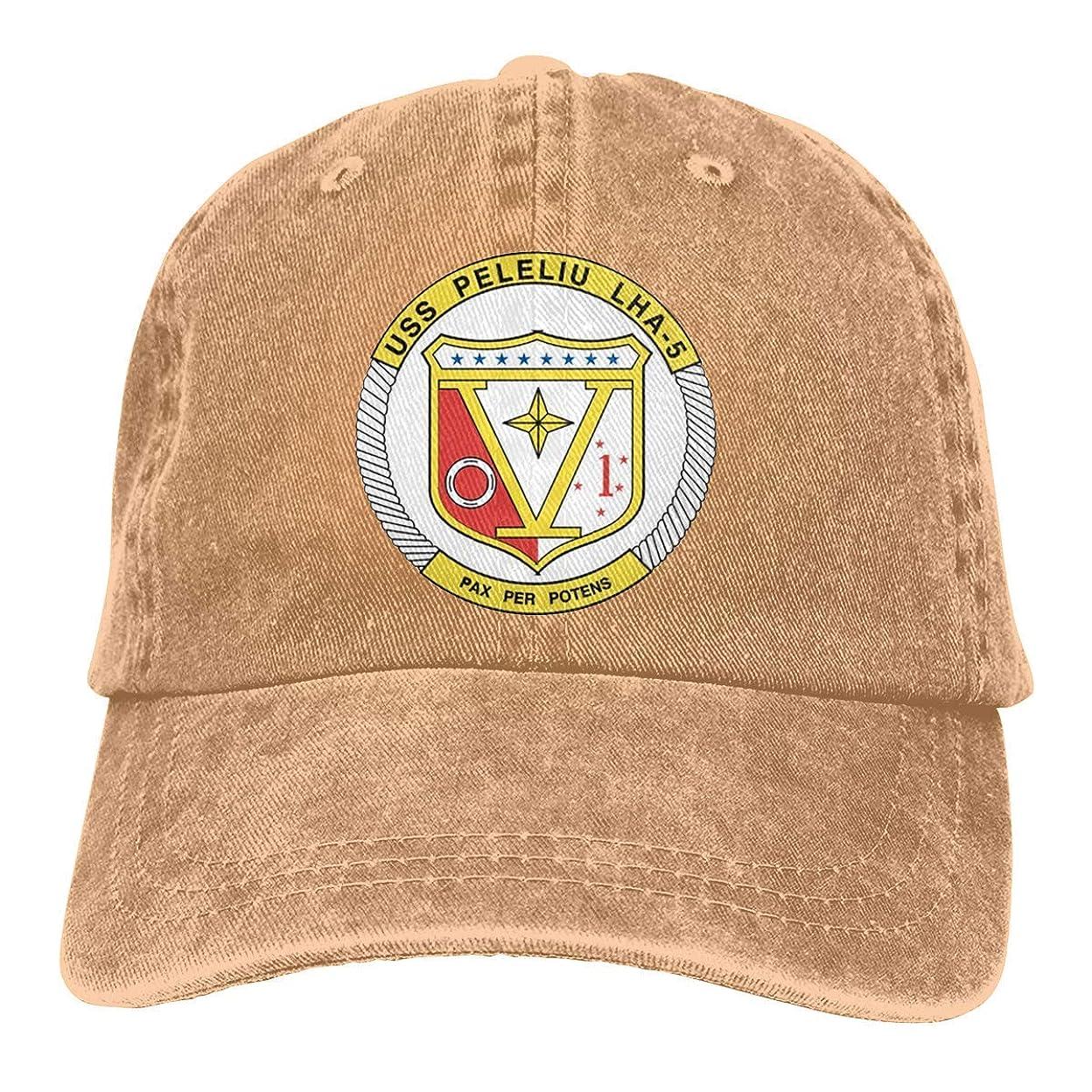 シンボル半円形成男性と女性のための海軍USS Peleliu LHA-5ビニール転送ビンテージ野球帽トラック運転手の帽子