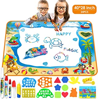 Kids Water Doodle Mat, Large Water Drawing Mat 40X28 inch, No Mess Aqua Magic Doodle Mat with 24 Accessories, Colorful Mat Educational Toys Gifts for Kids Toddlers Boys Girls