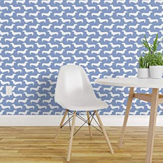 Spoonflower Pre-Pasted Removable Wallpaper, Dachshunds Dog Breed Doxie Sausage Periwinkle Baby Nursery Dogs Pet Portrait Print, Water-Activated Wallpaper, 24in x 36in Roll
