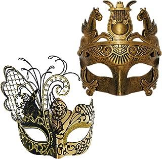 CCUFO Couple Masquerade Venetian Luxury Face Mask | Women Sparkling Butterfly & Men Greek Roman Gladiator | Party, Fancy Ball, Prom, Mardi Gras, Wedding, Wall Decoration (Gold)