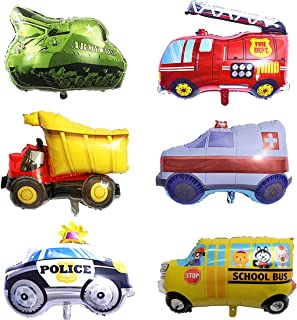 SYNUO 32 Inch Engineering Vehicle Fire Truck Police Car School Bus Ambulance Balloon, Birthday Party Decoration Balloon, Party Gift Baby Shower Car Balloon, Suitable for Children's Birthday.