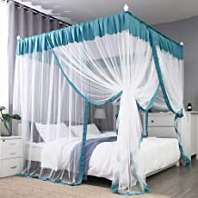JQWUPUP Elegant Bed Canopy Curtains, Color Stitching Ruffle Princess 4 Corner Post Mosquito Net, Bed Canopy for Girls Adult Kids Toddlers Crib, Bedding Décor (Queen, Lake Blue)