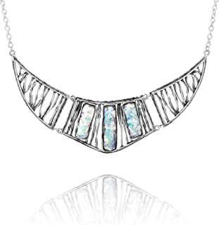 PAZ Creations 925. Sterling Silver Roman Glass Statement Necklace