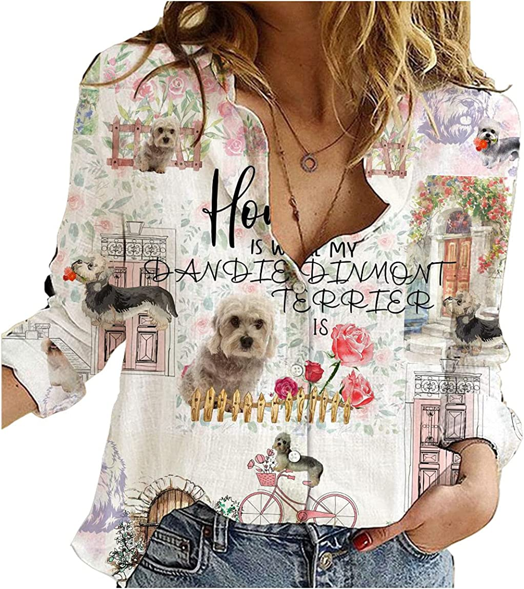 Dandie Dinmont Terrier Cotton Linen Shirt Urban Flower Love You Womens Long Sleeve Button Down Cotton Linen Shirt Blouse Loose Fit Casual V-Neck Tops Full Size