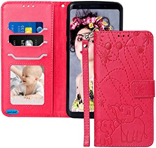 JanCalm for Galaxy S9 Case New [Elephant/Flower] Pattern PU Leather Wallet 360 Protection[Card Holder/Cash Slots][Wrist Strap] Stand Flip Magnetic Cover Samsung Galaxy S9 Case (Red/Rose)