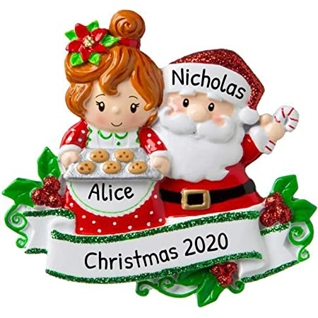 Personalized Santa Mrs Claus Christmas Tree Ornament 2020 Sweet Couple Mr Red Suit Made Love Gingerbread Cookie Tray Activity Together Birthday Holiday Tradition Friend Year Free Customization Kitchen