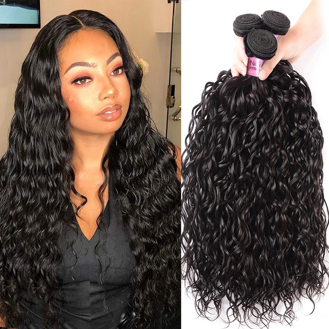 Unice Hair 10a Malaysian Water Bundles Unproce New Mesa Mall Free Shipping Human Wave 3