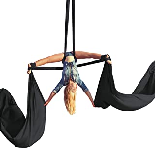 Aerial Silks Beginner Kit - Acrobatic Flying Dance Yoga Trapeze Aerial Yoga Hammock Swing - Includes 9 Yards of Aerial Tricot Fabric, Hardware & Guide - Suitable for Rigging Point Upto 13ft