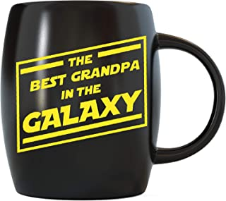 Father's Day Gift Best Grandpa In The Galaxy for World's Greatest and Awesome Grandfather Gramps Ever Funny Novelty Gag Gift Idea for Christmas or Birthday Ceramic Coffee Mug Tea Cup