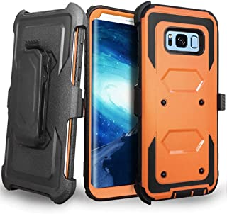 Samsung Galaxy S8 Plus case, J.west Galaxy S8 Plus Case, Heavy Duty Protection Kickstand Clip Holster Shockproof Case Cover for Samsung Galaxy S8 Plus 6.2 inch WITHOUT Built-in Screen Protector-Orange