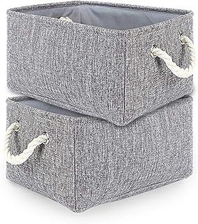 TheWarmHome 2 Pack Grey Fabric Storage Bins for Nursery Storage Canvas Storage Basket15.7×11.8×8.3 inch