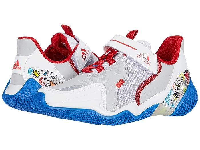 adidas Kids  4Uture Rnr El (Little Kid) (White/Scarlet/Glory Blue) Boys Shoes